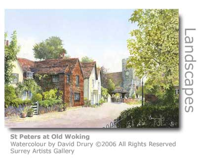 David Drury's watercolour of St Peters Old Woking