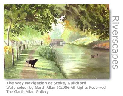 Garth Allan's Watercolour of the Wey at Stoke