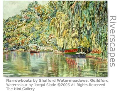Jacqui Slade's watercolour of the river by Shalford Watermeadows