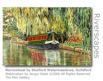 Detail of Jacqui Slade's watercolour of Narrowboats by Shalford Watermeadows