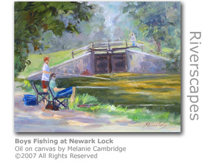 Boys Fishing by Newark Lock