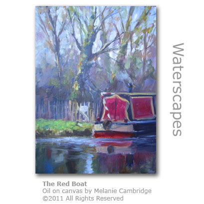 The Red Boat - oils on canvas by Melanie Cambridge www.weyvalley.info