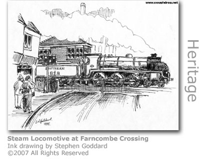 Steam Locomotive at Farncombe Crossing
