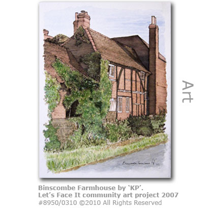 Binscombe Farmhouse painting by KP from Let's Face It - Farncombe Community Art Project 2007
