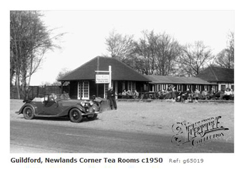 Newlands Corner tearooms with motor vehicle 1950