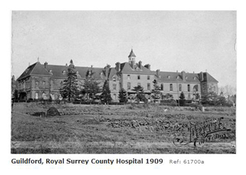 The Royal Surrey Hospital in Farnham Road, Guildford 1909