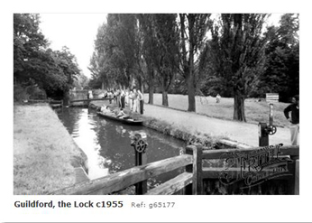 Guildford Millmead Lock on the River Wey 1955