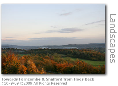 Farncombe from the Hogs Back near Guildford