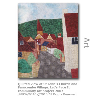 Quilted view of St John's Church and Farncombe village from Let's Face It community art project