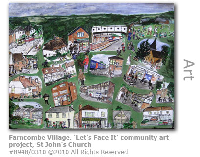 View of Farncombe village - Let's Face It community art project, St John's Church Farncombe, Godalming