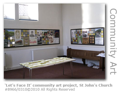 Let's Face It community art project at St John's Church, Farncombe, Godalming