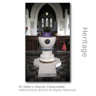 Font at Farncombe St Johns Church, Wey Valley
