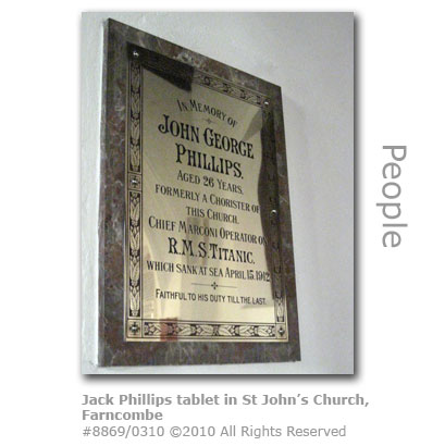 Jack Phillips memorial tablet in St Johns Church, Farncombe, Godalming