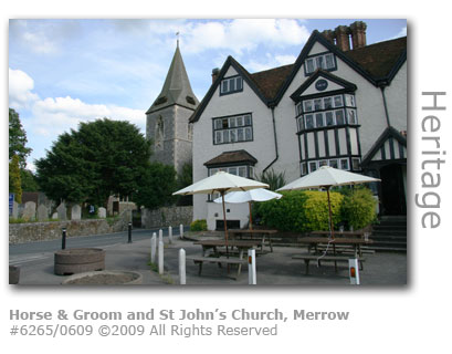 Horse and Groom and St John's Church, Merrow, Guildford