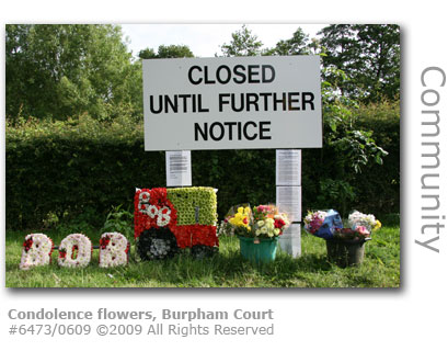 Flowers of condolence, Burpham Court Farm, Guildford