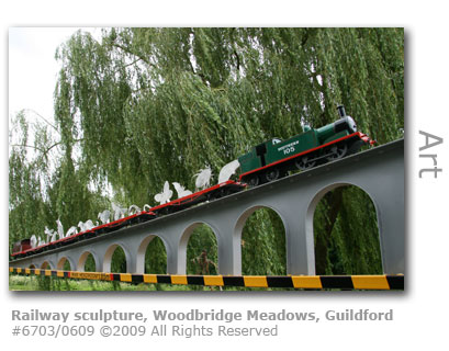 Railway sculpture in Woodbridge Meadows, Guildford
