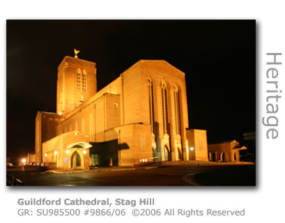 Floodlit Guildford Cathedral