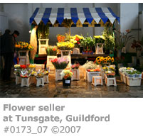 Flower seller at Tunsgate Guildford