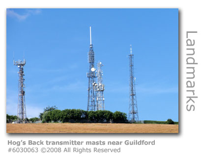 Transmitter masts on Hog's Back near Guildford