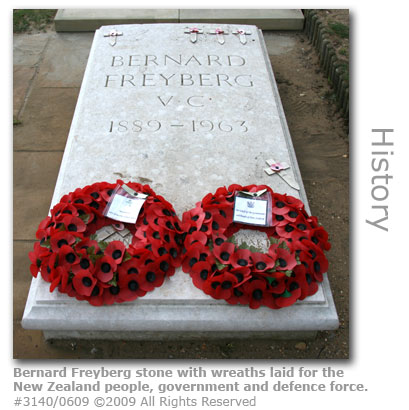 New Zealand wreaths on Bernard Freyberg headstone at St Martha's Church, Guildford