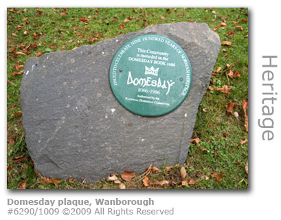 Domesday plaque at St Bartholomew churchyard, Wanborough near Guildford